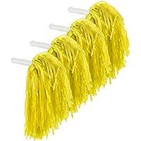 2 Pares de Pompones de Animación de Plástico Pompones de Cheerleading para Fiesta de Disfraz Danza Noche de Baile Fiesta de Deporte, Juego de 4 Piezas (Amarillo)