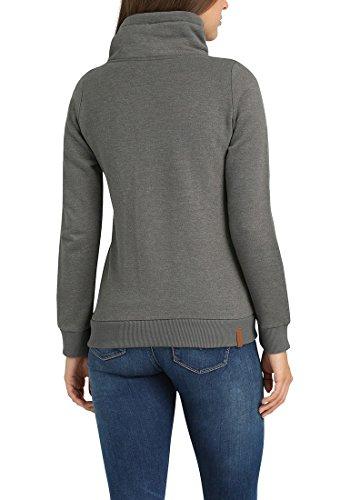 BLEND SHE Jasmin Damen Sweatjacke Kapuzen-Jacke Zip-Hood aus hochwertiger Baumwollmischung Pewter Mix