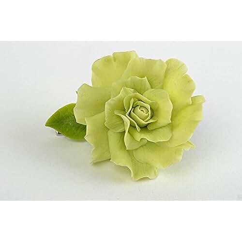 figuras kawaii porcelana fria Pinza para el pelo de porcelana fria con flor verde artesanal
