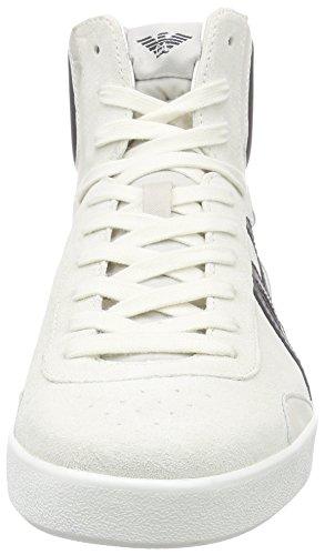 Armani Jeans C656418, Baskets hautes homme Blanc - Weiß (BIANCO - WHITE F1)