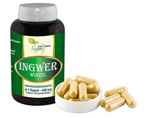 VITAIDEAL VEGAN® INGWER 180 pflanzliche Kapseln, je 500 mg rein natürliches Pulver ohne Zusatzstoffe.