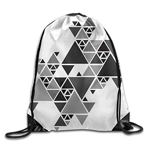 elzug, Sportrucksack, Reiserucksack, Gray Triangle Puzzle Print Drawstring Backpack Rucksack Shoulder Bags Gym Bag Sport Bag ()