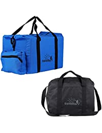 Ultralite Polyster Royal Blue & Black Duffle Bag Combo Pack Of 2 ( 55 L +35 L )