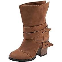 Botines Para Mujer,ZARLLE Mujer Martin Botas Zapatos De OtoñO Invierno Botines De TacóN CláSico Hebilla De CinturóN Botas Altura Aumentando Zapatos