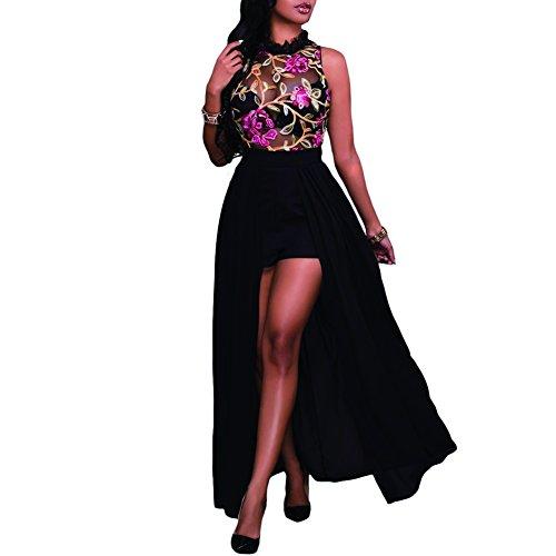 de0d38bf5f Synker Mujeres Vestidos Largo Florales Impresa Bordados Vestido Coctel  Fiesta Noche ...