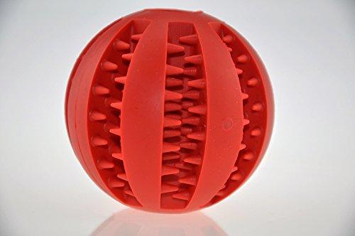 Hundespielzeug Ball aus Naturkautschuk mit Dental-Zahnpflege-Funktion | mit Noppen und Loch für Leckerli, ø 7cm, für große und kleine Hunde - 5