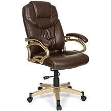 Silla de oficina / Sillón de oficina TRITON 301 piel sintética marrón oscuro/oro
