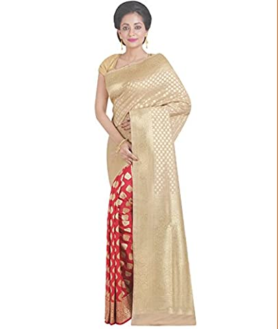 Indian Ethnic Pure Banarasi Silk Off White and Red Fancy