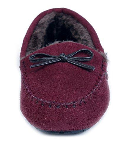 AgeeMi Shoes Femme Mocassin Coton Flat Suedé Chaussons Décorations Nœuds Fleur Rouge Vineux