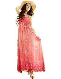 GZ Kleid 02 Longshirt Tunika Pullover Sommerkleid Rüschen Punkt Chiffon Shirt Sommer Kleid Abendkleid Maxikleid