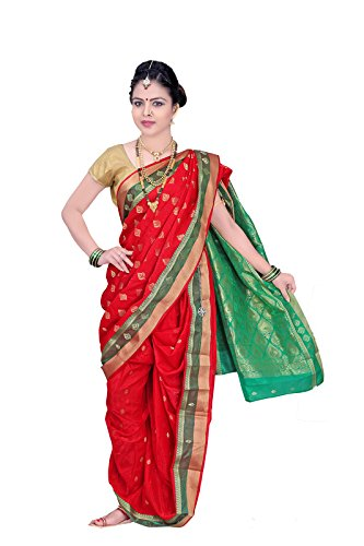 Bhartiya Vastra Bhandar Women's Ready To Wear Nauvari Saree(DNoA10_RedGreen_Green_FreeSize)