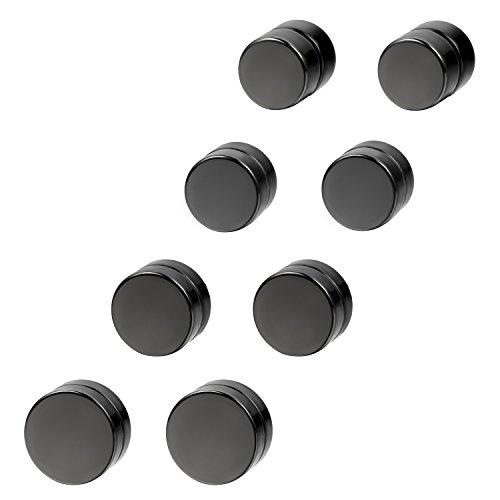 cupimatch 4 Paar Magnetische Fakeplugs Fake Plug Tunnel Ohr Magnet Ohrclips Ohne Loch 6 8 10 12mm Schwarz Piercing (Ohr-loch)