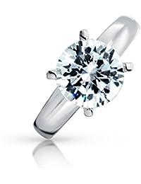 Bling Jewelry Plata Esterlina CZ redonda Clásica Solitario Anillo de Compromiso