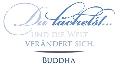 Wandtattoo Spruch Buddha Spruch Du lächelst in blau Pastell Farben