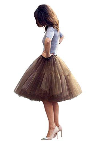 Babyonline Damen Tüllrock 5 Lage Prinzessin Kleider Knielang Petticoat Ballettrock Unterrock Pettiskirt Swing One Size - Braun