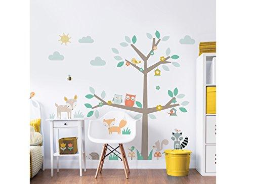 Walltastic Woodland Stickers muraux-Arbre et animaux bébé Décoration chambre Chambre d'enfant