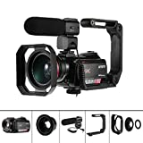 4K Videokamera, AC5 Camcorder mit 12X Optischen Zoom 3,1-Zoll-IPS-Touchscreen Ultra HD 1080P 60 FPS Digital WiFi Camcorder mit Mikrofon Wide Agle Objektiv
