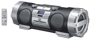 JVC Radio portable 20W x 2 + 10W x 2 CD , CD-R/RW Affichage texte MP3 cassette Ampli Guitare Prise entrée Guitare / Micro étui pour baladeur Mp3 et boitier télécommande  finition noire