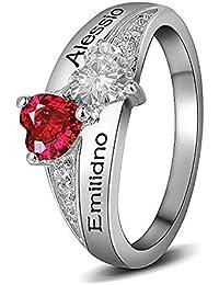 11d9abd0a79d Souljewelry Anillo de Plata Ley925 Personalizado con Nombres y Piedra  natales de Circonitas Cúbicas en Corazón Anillos de Diamante…