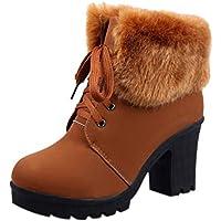 Botas de Mujer K-youth Botas Mujer Invierno Altas Tacon Moda Zapatos Mujer Otoño Moda Zapatos Altos Talones Cordones Botas Martin Botas para Mujer Botas de Nieve para Mujer