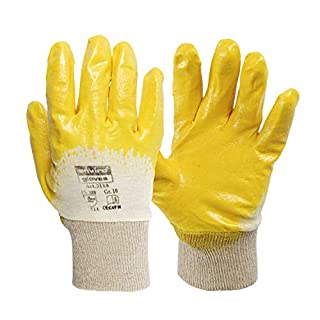 Enviro Gloves - 12 pairs of yellow nitrile gloves - very flexible work gloves - oil and grease repellent - protective gloves according to Standard 388-3111, available in 4 sizes -  Yellow -