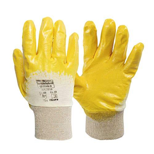 enviro GLOVE 12 Paar gelber Nitril-Handschuh - Größe 8 - sehr flexible Arbeitshandschuhe - Öl- und Fett abweisend - Schutzhandschuhe nach Norm 388-3111 -