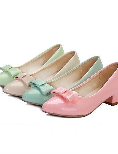 ZQ Damenschuhe - High Heels - B¨¹ro / Kleid / L?ssig - Lackleder - Niedriger Absatz - Spitzschuh - Blau / Gr¨¹n / Rosa / Beige pink-us5.5 / eu36 / uk3.5 / cn35