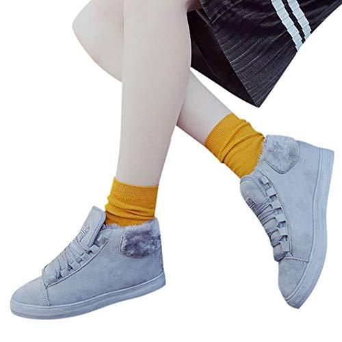Preisvergleich Produktbild TianWlio Stiefel Frauen Herbst Winter Schuhe Stiefeletten Boots Flache Schuhe Lässige Warme Baumwolle Schuhe Lässige Schnürstiefel Grau 38