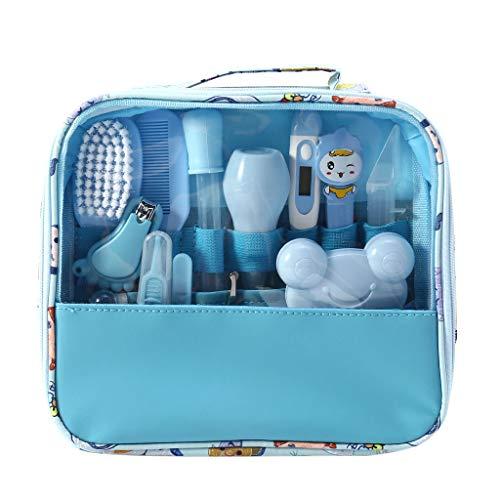 Mentin 13 pcs/ensemble Kit de soins bébé Infirmière nouveau-né Bébé Clou Cheveux Soins de santé Des gamins Thermomètre Toilettage Brosse Trousse (Bleu)