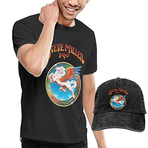 Baostic Herren Kurzarmshirt Men's Steve Miller Band T-Shirts and Washed Denim Baseball Dad Hat Black
