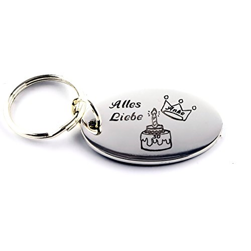 Schlüsselanhänger oval aus Metall graviert mit Ihrem Wunschtext/Wunschmotiv (inkl.) ca. 55 x 35 mm