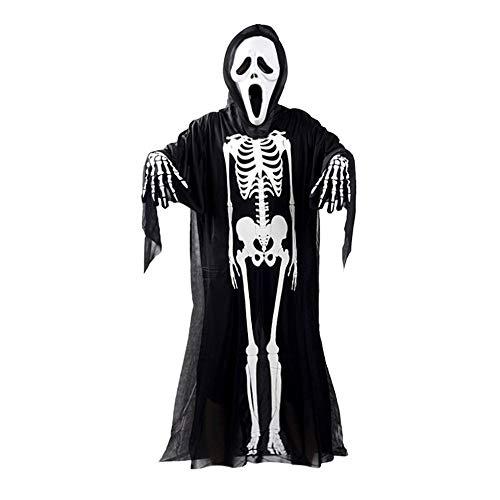 Ghost Black Kostüm Und White - IanqAzwibvd-UK Schädel Skelett Ghost Cosplay Kostüm Halloween Kostüm + Devil Mask + Handschuhe Black & White