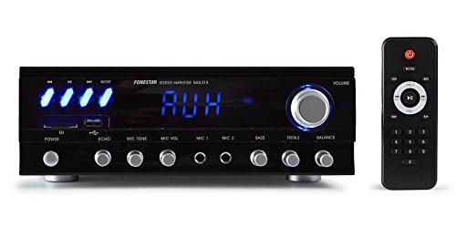 Fonestar BAS-215 2.0canales Hogar Alámbrico Negro - Amplificador de Audio (2.0...