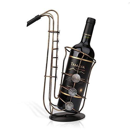 AVGe Edelstahl Wein Halter Stand Weinflaschenhalter Weinregal Rack Stand Holder (Saxophon)
