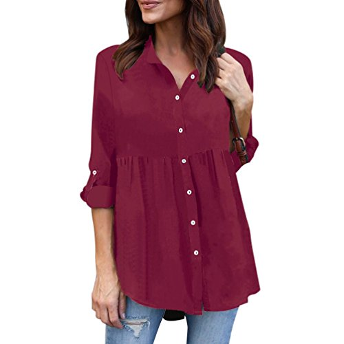 VEMOW Heißer Verkauf Sommer Herbst Damen Plus Size Solid Langarm Casual Chiffon  Damen OL Arbeit Top T-Shirt für Muttertag Geschenk (EU-38 CN-S, Weinrot) 34d9b5eaec