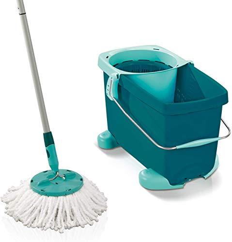 Leifheit set clean twist disc mop pavimenti, lavapavimenti professionale con secchio a rotelle a 360°, mop rotante con tecnologia centrifuga nel manico