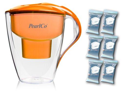 PearlCo - Wasserfilter Astra (orange) - mit 6 unimax Filterkartuschen - passt zu Brita Maxtra