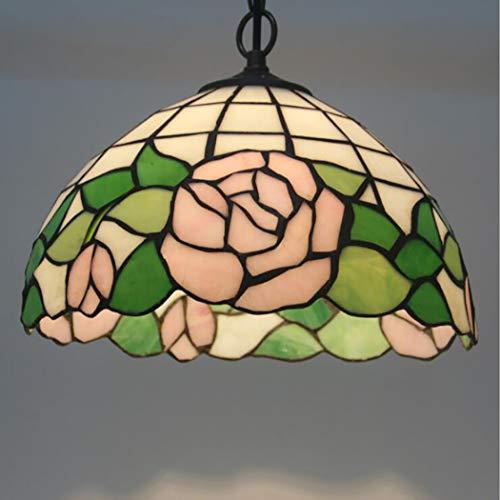 Tiffany style pink rose lampada a sospensione fatta a mano in vetro colorato lampadario antico illuminazione domestica catena in ferro battuto (dimensioni: w 12