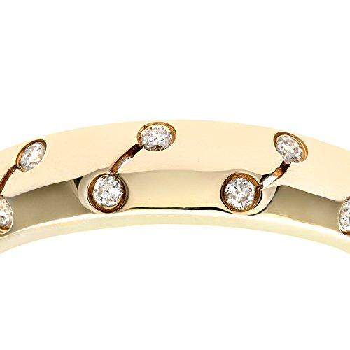 Naava Women's Eternity Ring, 9 ct Yellow Gold Diamond Ring, Rub Over Set, 0.1 ct Diamond Weight