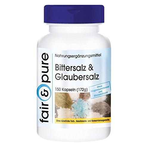 Bittersalz & Glaubersalz, Magnesiumsulfat und Natriumsulfat, vegan, 150 Kapseln, ohne...