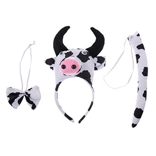 �m Tier Ohren Stirnband Schwanz und Schleife für Kinder Party/Halloween/Weihnachten Party - Mehrfarbig Kuh, 3pcs/set (Kindergarten-halloween-spiele Und Aktivitäten)