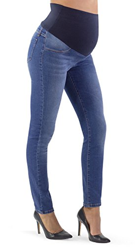 Jeans premaman, colorazione media super elastico e comodo, con fascia in morbido jersey, slim (46 it, medio)