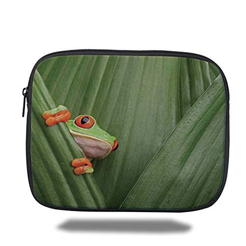 Tablet Bag for Ipad air 2/3/4/mini 9.7 inch,Animal Decor,Red Eyed Tree Frog Crowling Between Leaves Tropical Jungle Rainforest Night Art,Green,Bag -