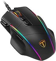 PICTEK Mouse Gaming, Mouse RGB Ergonomico da 8000 DPI (5 livelli), 8 Pulsanti Programmabili, 7 Modalità di Ill