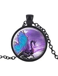Collar de dragón con alas azules