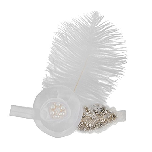 Gazechimp Blumen Feder Stirnband, 1920er Stil, 30er Jahre Charleston Kopfband,Fantasie Kostüm, (1920er Der Kostüm Schmuck Jahre)