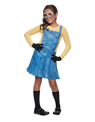 Minion Kostüm, Kinder Mädchen Outfit, groß, Alter 8–10Jahre, Höhe 4'20,3cm–5' (Minion Mädchen Outfit)