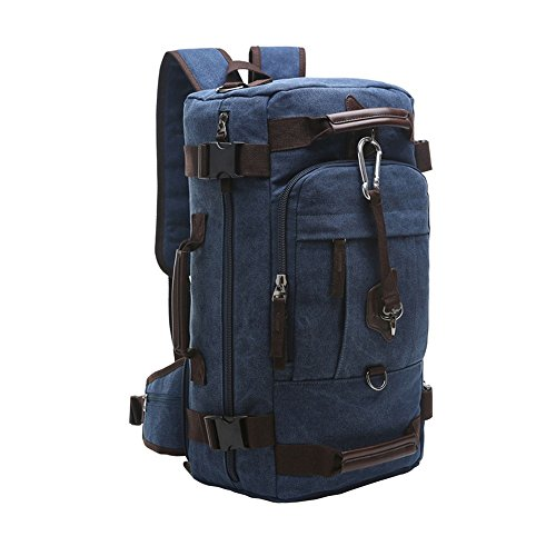 VRIKOO Multifunctional Canvas Backpack Rucksack Big Capacity Travel Duffel  Hiking Daypacks Camping Bag aa9dbe9b6688c