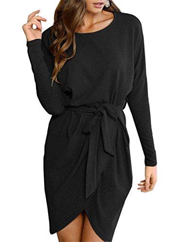 Lueyifs Übergröße Asymmetrisch Einfarbig Fledermaus Langarm Damen Herbst Winter Casual Party Mini Kleid Tunika mit Gürtel