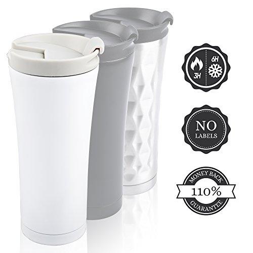 Isolierbecher to go Auslaufsicher 450 ml Matt-weiß. Premium Design Kaffee Thermobecher Edelstahl Schwarz/Weiß. 110{1314b4f099a091ef7ece8066d34fbc2f9d7d718dd7f25844db6b52a98a8f332f} Geld-zurück-GARANTIE